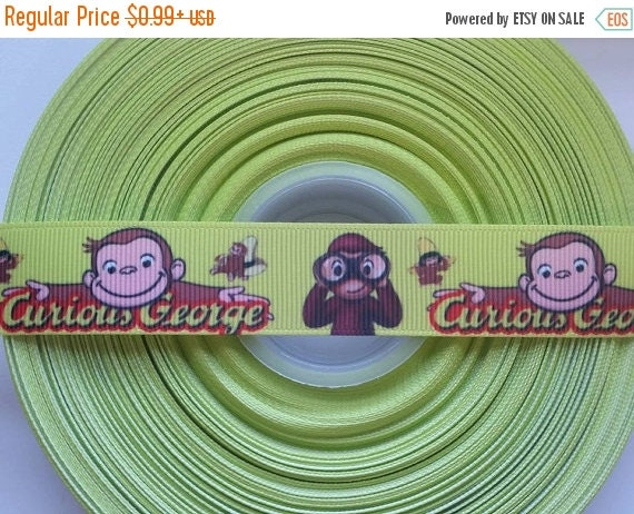 "SUPER SALE CURIOUS George Monkey 7/8"" Grosgrain Hair Bow Craft Ribbon 782596"