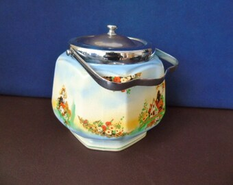 Vintage 1920's + Biscuit Barrel - English Pottery Biscuit Barrel - Cottage Range