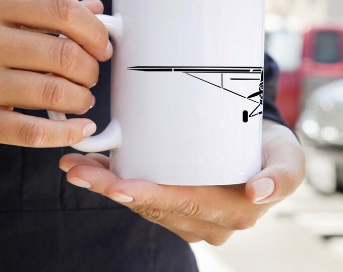 KillerBeeMoto:  U.S. Made Coffee Mug Limited Release Piper PA-18 Super Cub Recreational Aircraft Drawing On Coffee Mug