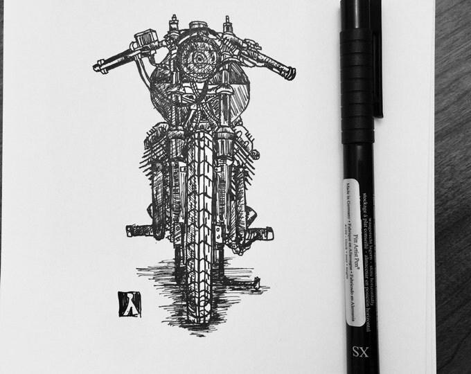 KillerBeeMoto: Pen Sketch of Moto Guzzi Cafe Racer