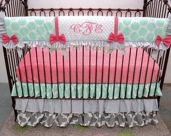 Bumperless Baby Bedding Mint, Coral & Gray Baby Girl Bedding: Clarissa