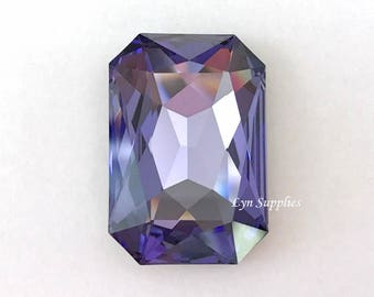 4627 TANZANITE 27x18.5mm Swarovski Crystal Rectangle Octagon, Purple December Birthstone