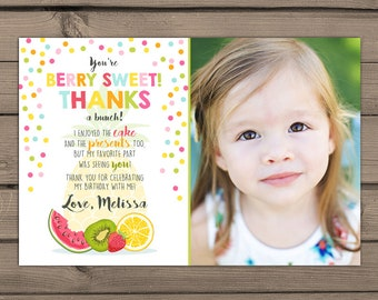 Two-tti frutti Thank you card Fruity Birthday Party Thank you card tutti frutti Birthday Berry sweet summer Fruit Pineapple DIY PRINTABLE