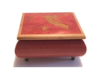 Vintage REUGE Music Box Pink Blonde Wood with Angle Plays Dance of the Sugar Plum Fairy Music Box