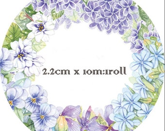 Purple Flower Washi Tape -- Masking Washi Tape -Deco tape-- 22mm x10M