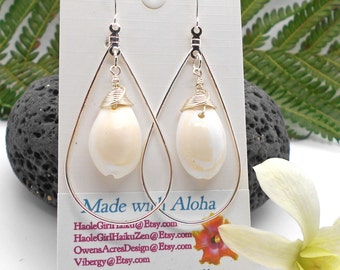 Silver Dangle Earrings CowrieShells - Beach Weddings, Beach Jewelry, Hawaii, Ocean, Silver Earrings, Cowrie Shell, Shell Jewelry