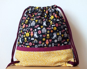 Dogs fabric backpack, girls bag, toddler school bag