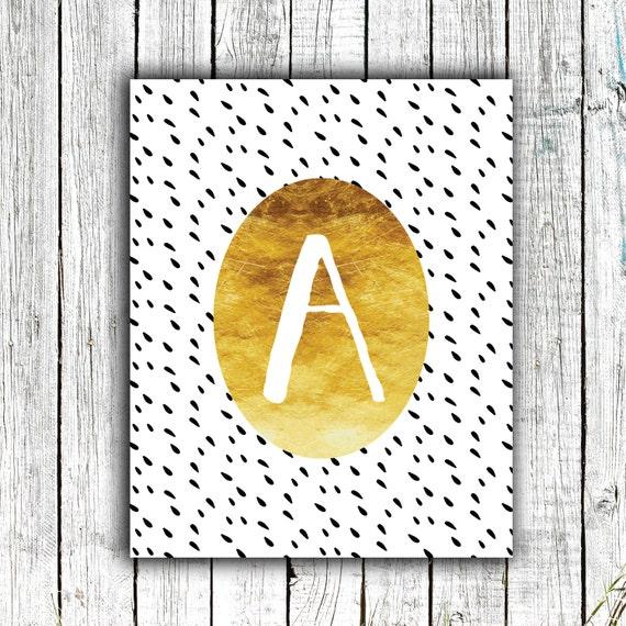 Nursery Art Monogram, Gold, Modern, Personalized, Digital Download Size 8x10 #5