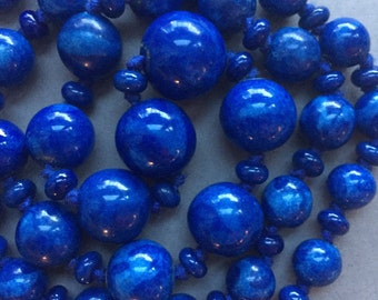 1930's Long Blue Glass Beads Necklace
