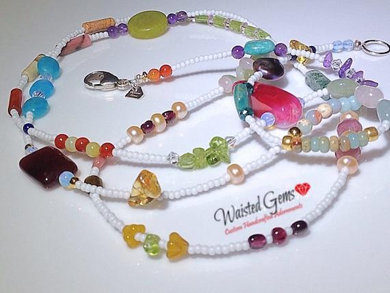 White Grown and Sexy Gemstone Waist Beads, waistbeads,  body chain, belly chain, Boho Jewelry, waist gems body jewelry zmw3333