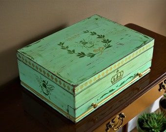 Vintage hand painted mint green and gold French style 2 tier silverware chest