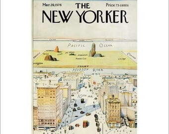 "50% Off Estate Sale Vintage The New Yorker Magazine Cover Poster Print Art, Steinberg, 1976 Matted to 11"" x 14"", Item 001, 9th Ave"