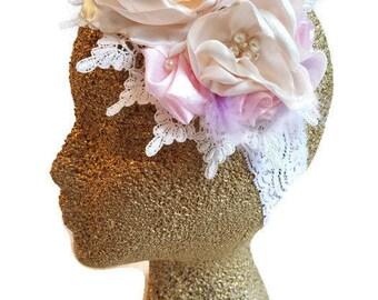 Vintage floral headband/Baptism headband/girl floral headband/ Tea Party floral headband/floral headband/baby vintage headband/
