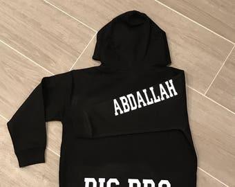 Big Brother Hoodie, sweatshirt, big brother, little brother, big bro, personalized sweatshirt,hooded sweatshirt, pullover,gift, personalized