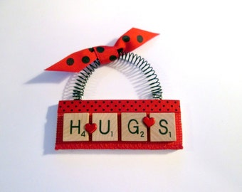 Hugs Scrabble Tile Ornament