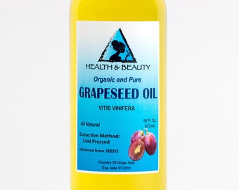 16 oz GRAPESEED OIL ORGANIC Carrier Cold Pressed 100% Pure