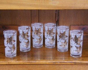 Set of Six ~ Fred Press Glasses Gold Leaves ~ Collins Glasses/Tumblers ~ Cocktail ~ Mid-Century Modern ~ MCM ~ Maple Leaves