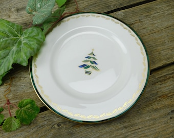 "Set of 5 Vintage Lenox Kelly Christmas Tree 8"" Salad Dessert Plates"