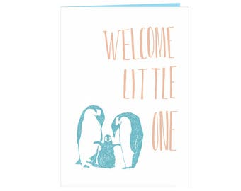 Beautiful heartwarming babyshower card - welcome baby card - birth card - newborn card - Welcome little one - adorable penguin family