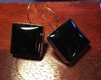 Sterling Silver Square Black Onyx Earrings