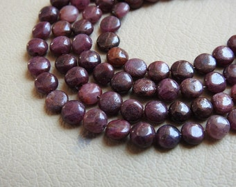 """1. Strand 8"""" Real Ruby Smooth Coin Shape Beads 7X5 MM Approx 100% Natural Finest AAA Quality Wholesale Price New Arrival"""
