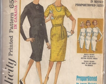 Simplicity How to Sew 5653 Pattern Misses Dress, Size 18,  Vintage 1964