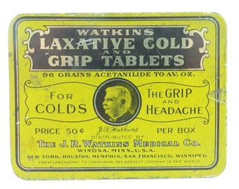 Vintage Watkins Laxative Cold And Grip Tablets Medicine Tin