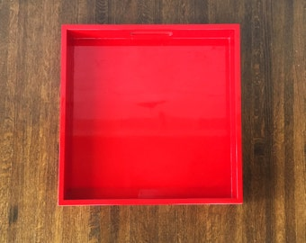 Red Shallow Tray, Red Decorative Tray, Red Ottoman Tray, Red Coffee Table Tray