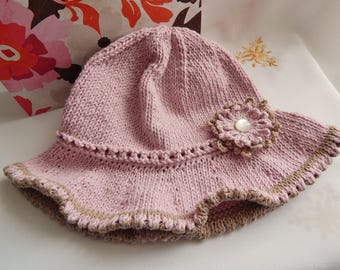 Baby Sun Hat with Flower detail, Hand Knitted in Soft Pink & Mocha, Baby Gift, Sun Hat,Pink Hat, Baby Shower Gift, Handmade Gift UK, 3-6m