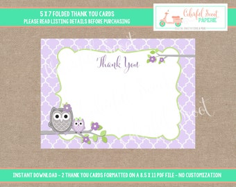 Owl Baby Shower Thank You Cards, INSTANT Download - 5X7, Thank You Notes, Owl Baby Shower, Lavender, Green, #0014