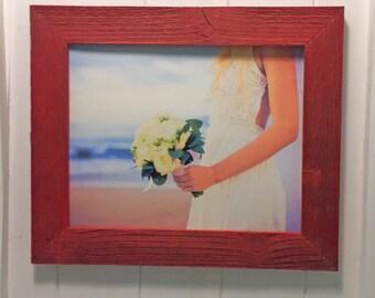 Reclaimed wood frame- 8x10- red frame- barnwood frame- rustic decor- shabby chic- sweetheart gifts
