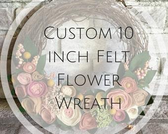 10 inch Custom Felt Flower Grapevine Wreath