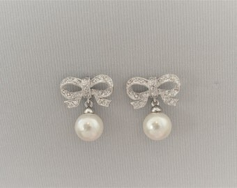 CHARLOTTE Cubic Zirconia and Pearl Bridal Earrings