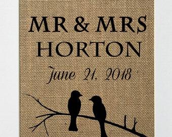 UNFRAMED Love Birds  / Burlap Print Sign 5x7 8x10 / CUSTOM Rustic Country Shabby Chic Vintage Wedding & Party Decor Sign Love House Sign