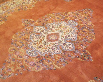 Luxurious Antique Hand Knotted Rug Persian Kirman 8x11 Regal Interior Design for Stylish Homes  -487
