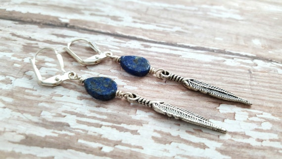 Lapis Lazuli Feather Earrings - Natural Gemstone Earrings - Blue Stone Earrings - Tear Drop Earrings - Boho Style Feather Earrings