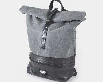 Roll Top Daypack made from waxed canvas and recycled bike inner tubes