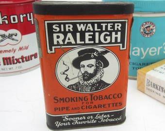 Vintage Sir Walter Raleigh Tobacco Pocket Advertising Tin - Brown & Willamson, Louisville, KY