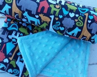 minky baby blanket-Personalized boys aqua minky baby blanket in animal print-baby blanket with applique name-baby shower gift