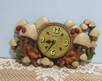 new haven kitchen wall clock retro kitchen wall clock mushrooms and lady bugs