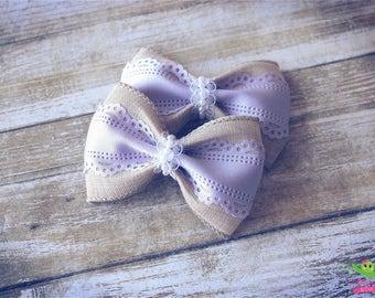 "Burlap Lace Lavender Hair Bows, Vintage Inspired Hair Bows, Baby Girls Hair Bows, Toddler Hair Bows, Hair Clips, 4"" Hair Bows, Spring Bows"