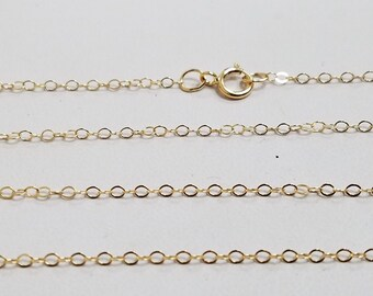 14K Gold Filled 1.3mm Flat Cable Chain Necklace, USA, 16, 18, 20 Inches