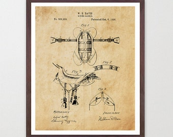 Cowboy Patent - Cowboy Poster - Horse Art - Horse Poster - Saddle - Saddle Patent - Cowboy Art - Rodeo - Ranch art - Saddle Poster - Horse