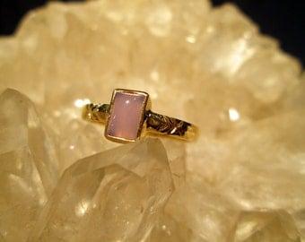 Holley Blue Agate Ring ~14K Gold~ Handmade Rare Oregon Gemstone