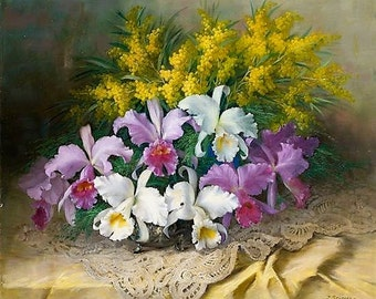 Floral Composition - Counted cross stitch pattern in PDF format