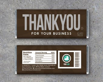 THANK YOU For Your Business Candy Bar Wrapper – Printable business thank you gift with company logo & info – Hershey's Customer Appreciation