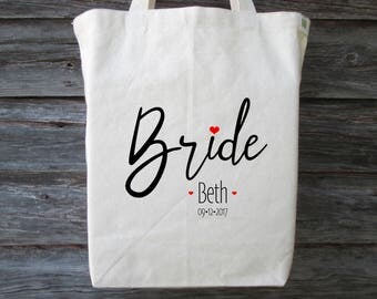 Brides Tote, Wedding Tote Bag, Cotton Canvas Tote, Wedding Gift, Bride Gift, Recycled Cotton Canvas Tote, Bride, Wedding Bag