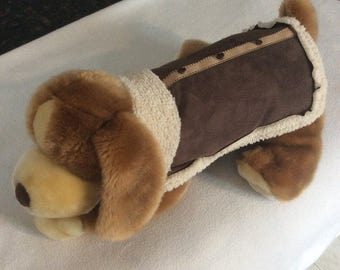Suede and sherpa dog coat