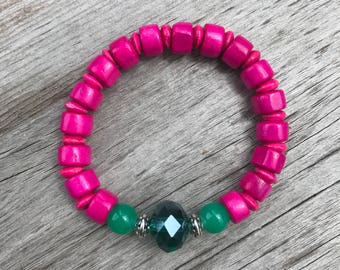 Pink and Turquoise Beaded Bracelet, Hot Pink Bracelet, Turquoise Bracelet, Handmade Beaded Bracelet