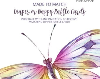 Made to Match Diaper Raffle Cards, Made to match any of my invitation designs, digital file only!